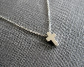 Tiny Silver Cross Necklace / Dainty Cross NecklaceFor Women