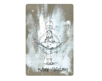Holiday card, Merry Christmas card,4x6