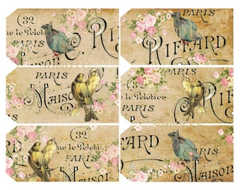 Instant Download - Birds In Paris -  Hang Tags-  Printable Digital Collage Sheet - Digital Download