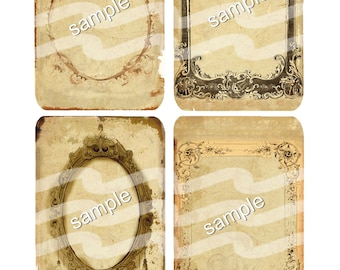 Instant Download  Grungy Look Frame tags 5b  - 3x5  Digital Download - Printable  Digital Collage Sheet