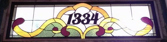 "Stained Glass Transom with address marker / ""Victorian Ribbons"" (AM-50)"