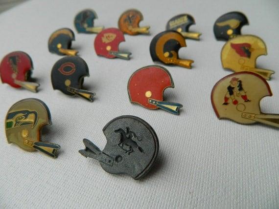 Set of 14 Vintage Football Helmet Pins