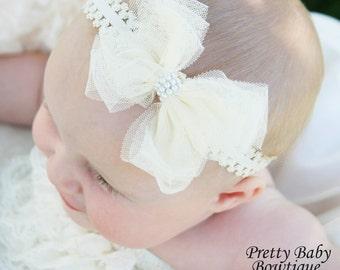 Baby Girl Headband - Cream/Ivory Bow  Headband - Newborn Headband - Toddler Headband - Baby Headband