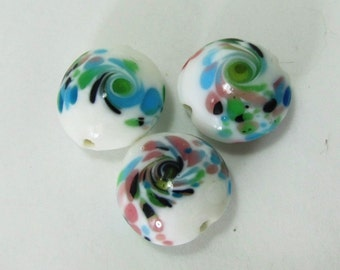 Pretty Watercolor Rounds - Set of 3 Lampwork Beads