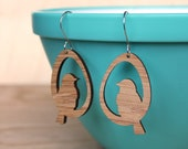 Bird earrings made from Bamboo Earrings  - lightweight eco-friendly