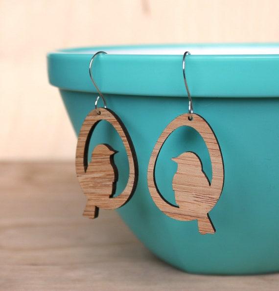 Bird earrings made from Bamboo Earrings  - lightweight eco-friendly, dangle earrings, lightweight earrings