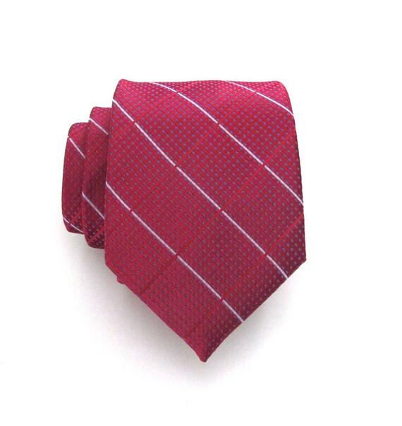 Mens Tie - Red and Blue Plaid Silk Men's Tie