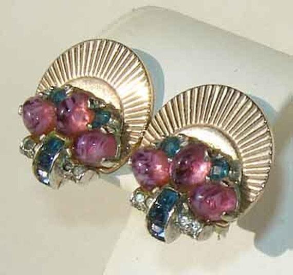 Vintage 40s Boucher Earrings Art Deco Purple Lavender Art Glass Sapphire Rhinestone Earrings