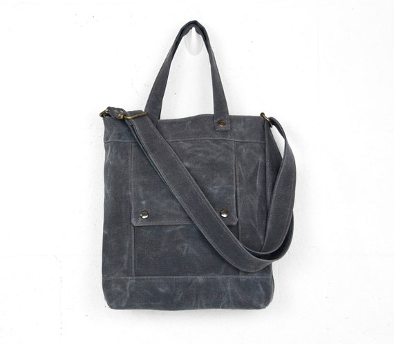 SALE - Packet in Dark Shadow Gray Waxed Canvas - Ready to Ship