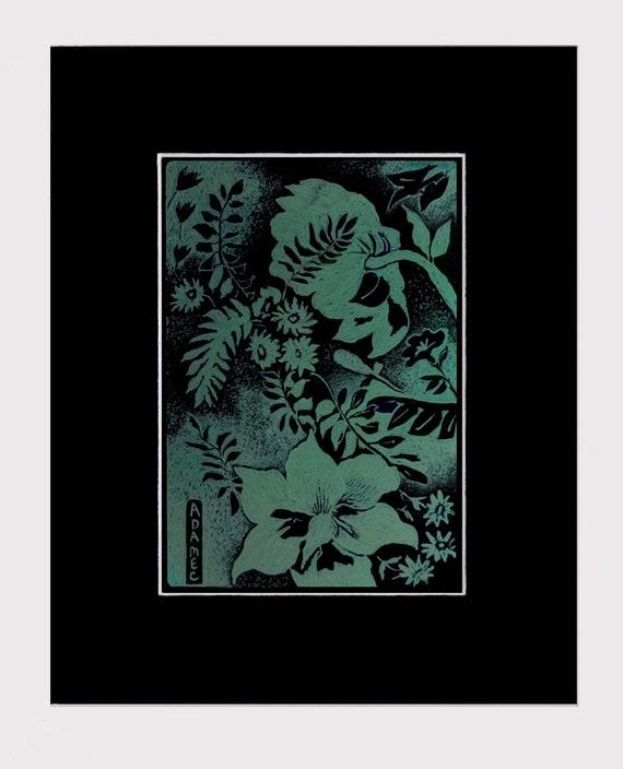 Original Botanical Digital Drawing, GARDEN VARIETIES 3, in 8x10 BLACK Mat, Ready to Frame