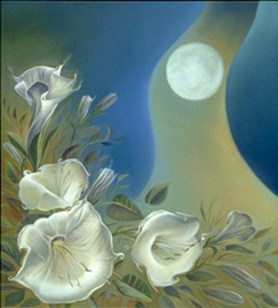 Southwest Art New Mexico Night Garden Moon Flower, MOONLIGHT & DATURA, Art Print 7, Open Edition