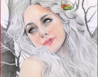 White Christmas 8.5 x 11 Fantasy art Print KaterinaArt