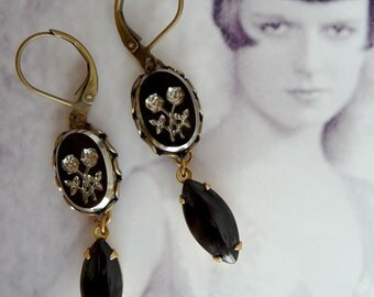 Black and silver earrings with roses - Vintage Inspired Jewelry - Black Rose Earrings - Vintage Cabochons - Coal Earrings (SD0335)