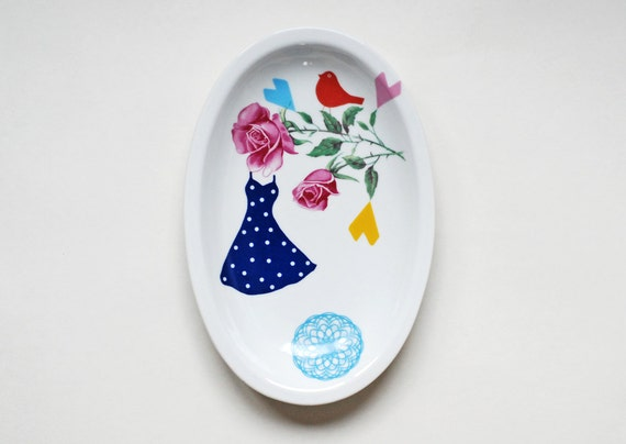 Blue polkadot dress platter