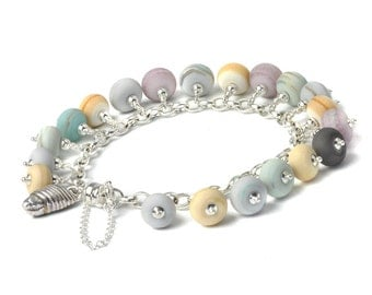 Charm Bracelet | Beaded Glass Charm Bracelet | Coast Collection | Handmade Lampwork Glass and Silver Shell Charm Bracelet | UK SRA