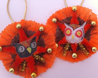 Halloween OWLS w/orange vintage style CHENILLE ORNAMENTS set of 2 round medallions