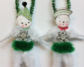 SNOWMAN snowwoman w/green CHRISTMAS vintage style chenille ORNAMENTS set of 2