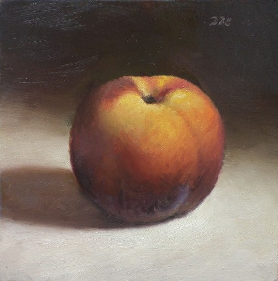 Original Oil Painting, Peach, 5x5
