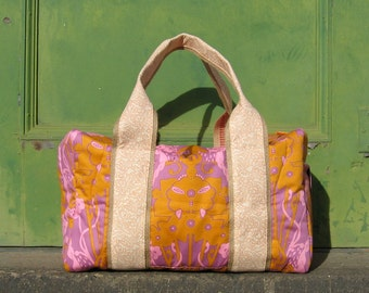 Sample Sale Orange with Pink Weekender Duffel Travel Bag Ready to Ship