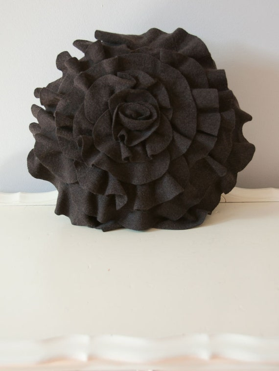 """Merino Ruffle Rose Pillow in Woodland Brown. Eco friendly recycled materials. 16"""" medium"""