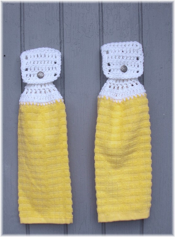 Hanging Kitchen Towels Yellow with White Tops Matching Pair