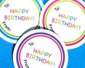 PRINTABLE Happy Birthday Gift Tags, DIY Happy Birthday Labels, Party Printables, Birthday Printables, Gift Tags, Rainbow Printables