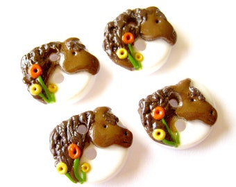 Beautiful Bay Horses (handmade buttons- set of (4) 3/4 inch size)