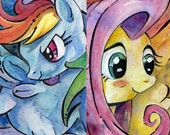 My Little Pony Friendship is Magic Rainbow Dash and Fluttershy Art Prints - MLP FIM Pegasus