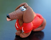 Dachshund Dog Miniature Figure Red Hoodie Sweater Polymer Clay