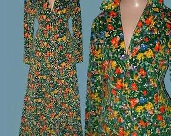 Vintage 60s 70s Maxi Skirt Suit Floral Cotton Velvet S