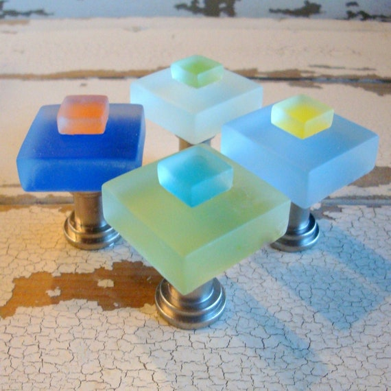 Beach Home Decor Small Glass Cabinet Knob by beachyrustica on Etsy