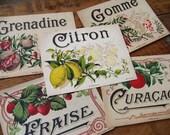 vintage French liqueur labels - 5 - lemon strawberry pomegranates - 5 fruit liqueur labels