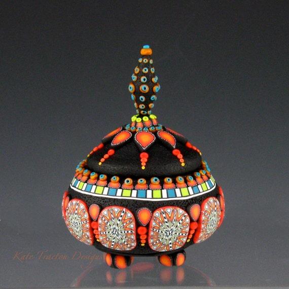 Fiesta Polymer Clay Pot, Orange, Black, Multi-colored