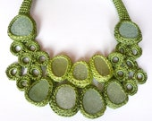 Green seaglass bib necklace with 9  sea glass statement prom collar crochet OOAK handmade Birthday spring gift for her Valentine Easter