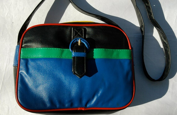 vintage 80s colorblock shoulder bag, ultra cute, vegan