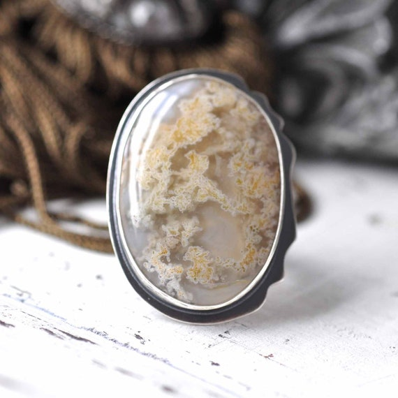 Reserved - Ring - Yellow moss agate - Sterling silver - size 7 - ooak