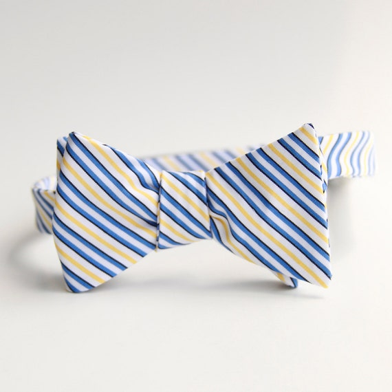 blue & yellow stripe bow tie- Ambassador Bruny for xoelle