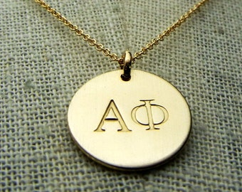 Alpha Phi Sorority Necklace, Choose YOUR SORORITY, Lavalier, Gold Filled Charm, Brushed Gold Necklace Choose Sorority Officially Licensed
