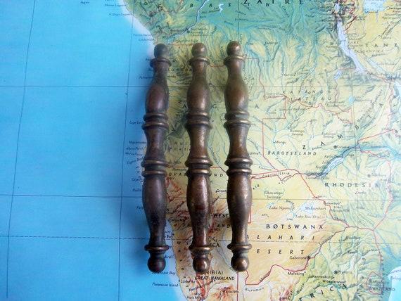3 vintage slim curved brass metal handles