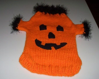 Large Halloween Pumpkin Dog Sweater Coat  Small Dogs Pet Clothes Yorkie  Chihuahua