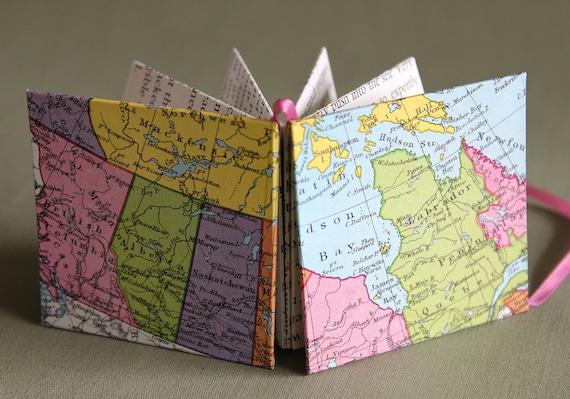 O Canada Recycled Map Star Book Mini Book or Card by PrairiePeasant