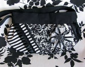 Black and White Victorian Striped Damask Flower Spider Clutch Bag - REAPER - Warning Label Creations