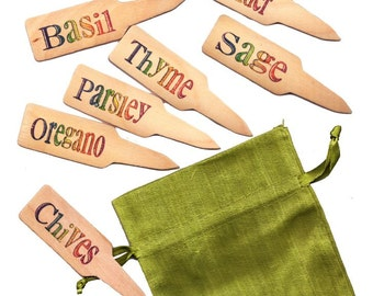 Herb Garden Plant Pot Markers - 10 Classic Rainbow1 w/ Gift Bag, Your Choice of Color