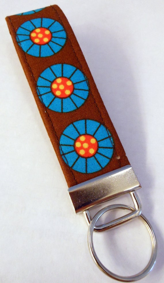 Key Fob - Key Chain - Nickle Hardware - Polka Dot Turquoise, Brown and Orange Cotton Print - Wristlet Key Fob
