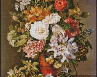 STILL LIFE With FLOWERS cross stitch pattern No.715