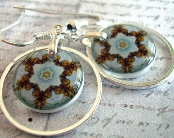 birthday blue kaliedoscope eyes earrings,  hoop earrings, resin earrings, gifts undder 20