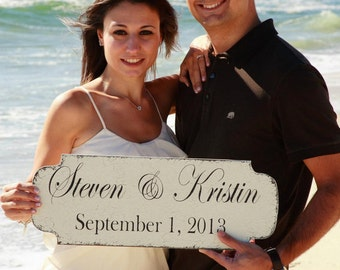 SAVE the DATE, Engagement Sign, Wedding Sign, Use this sign FOREVER 22 x 8