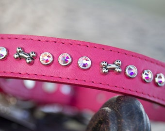 Leather Dog Collar//Crystal Dog Collar//Pet Collar//Jeweled Collar//Leather Collar//Puppy Collar//Leather Pet Collar//Bone Crystal Collar