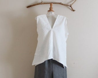 handmade to measure sparrow hanky weight linen top with side slits