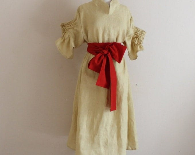 custom order smocked spiky sleeves with chipao collar and obi / linen dress / linen obi sash / smocked sleeves / stand up collar